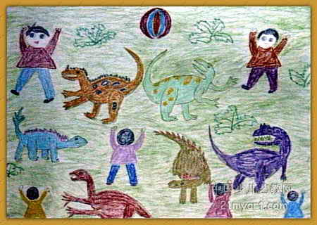 和恐龙一起玩儿童画