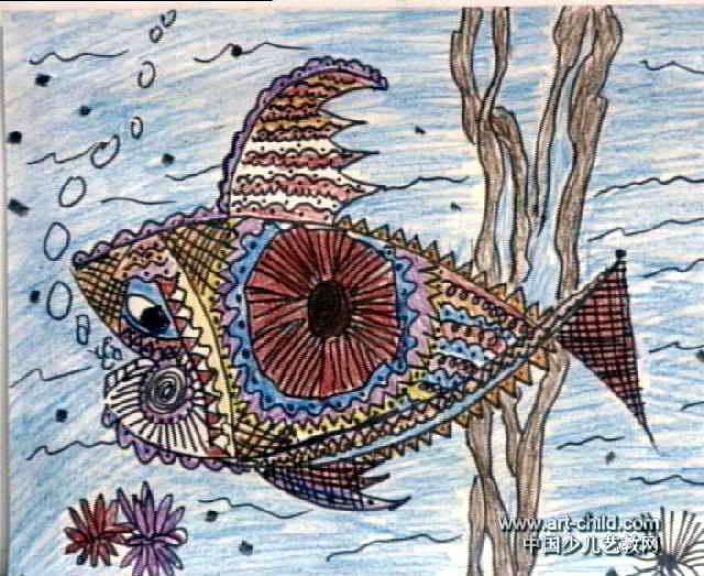 双眼鱼儿童画,这幅油画棒画作品长523px,宽640px,作者刘维,男,9岁