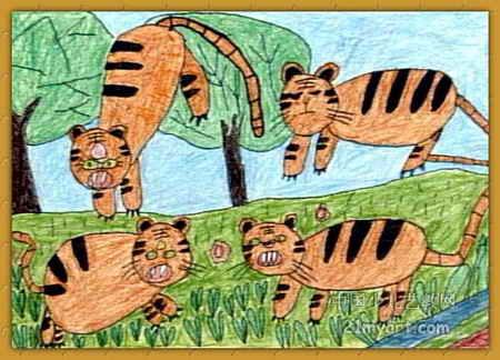 小老虎等妈妈儿童画