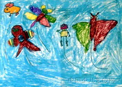 美丽的风筝油画棒儿童画
