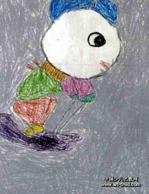 小熊滑雪儿童画作品欣赏