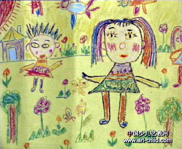 我教爸爸妈妈做操儿童画属于油画棒画
