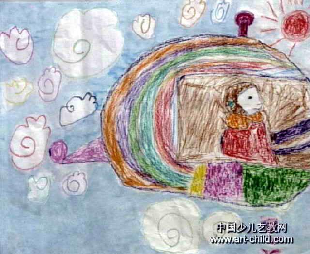我坐飞机飞上天儿童画图片