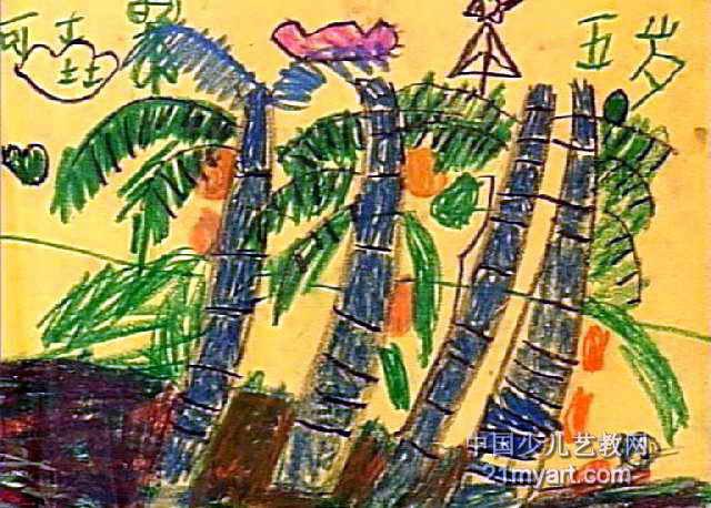 椰子树油画棒儿童画