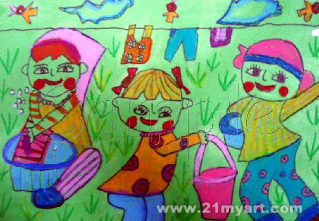 能干的小手儿童画3幅(第2张)