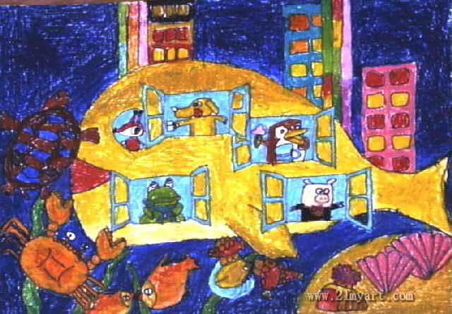 小动物的家儿童画2幅
