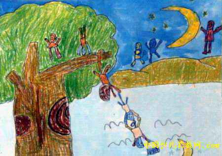 猴子捞月亮儿童画属于油画棒画,长316px,宽450px,作者龚臣,男,5岁