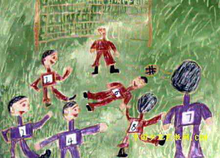 踢足球儿童画13幅(第6张)