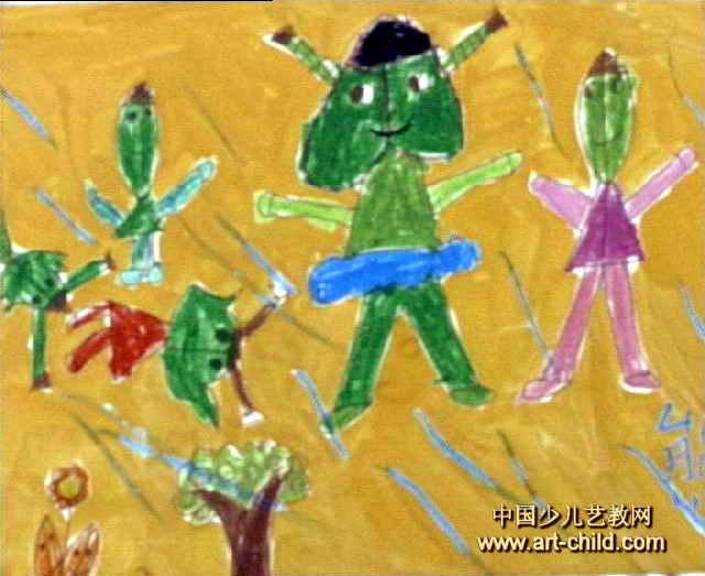 风中的叶子儿童画作品欣赏