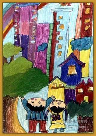 高楼拔地起儿童画