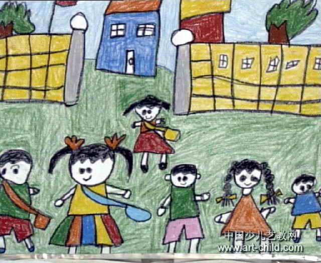 上学啦儿童画图片