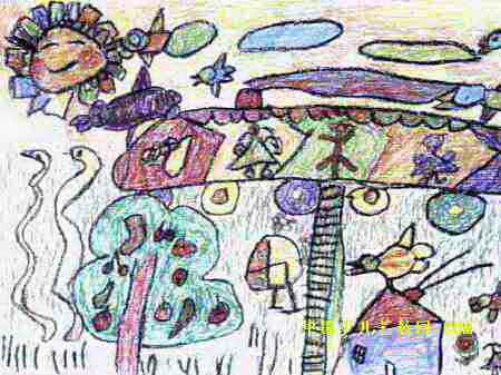 简笔画 儿童画 儿童油画棒画 >> 森林火车儿童画2幅   森林火车儿童画