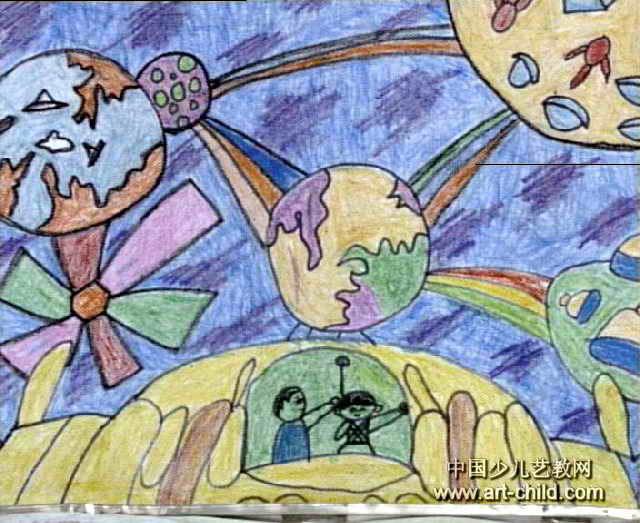 太空世界儿童画11幅图片