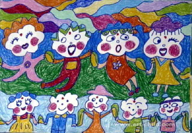 白云娃娃儿童画属于油画棒画