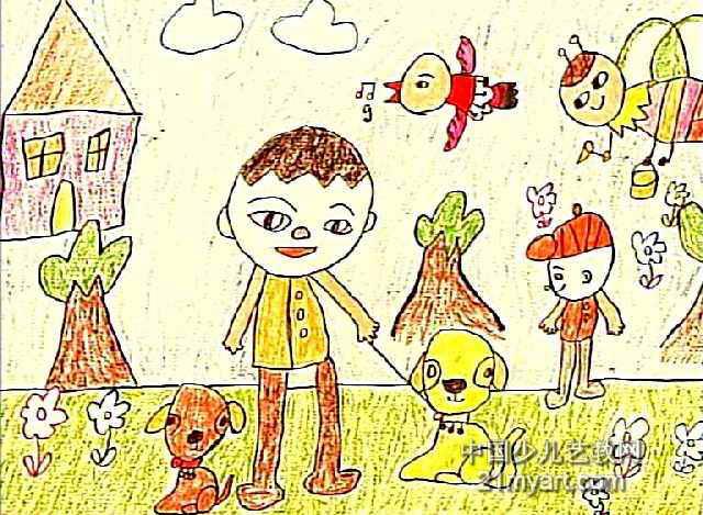 我的小黄狗儿童画作品欣赏