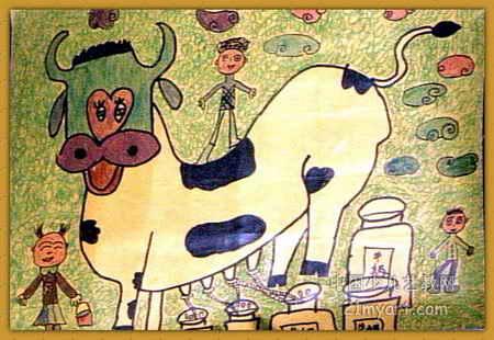 绿色食品儿童画,此幅油画棒画大小为310x450像素,作者李由,来自小龙潭发电厂幼儿园,女,9岁.