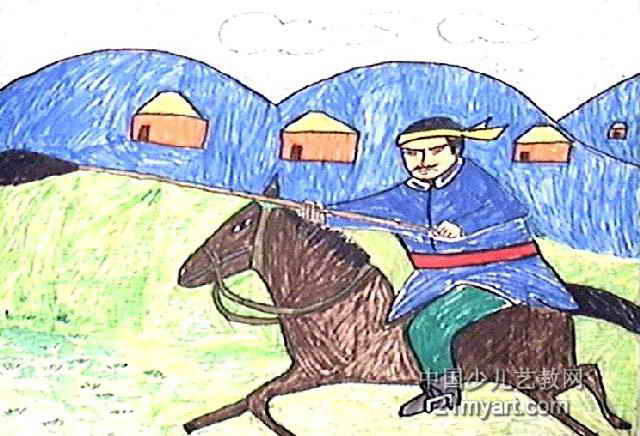 牧马人油画棒儿童画