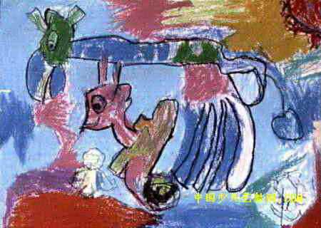 可爱的小动物儿童画,此幅油画棒画大小为320x450像素,作者杨智,来自安