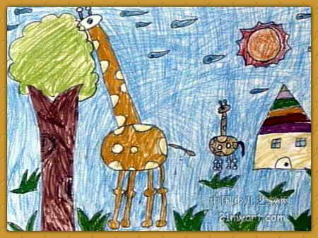 树叶 刘佳明/长颈鹿吃树叶油画棒儿童画,这幅油画棒画作品长337px,宽450...