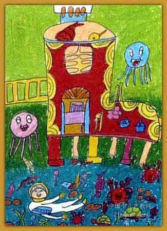 儿童画海底动物图片