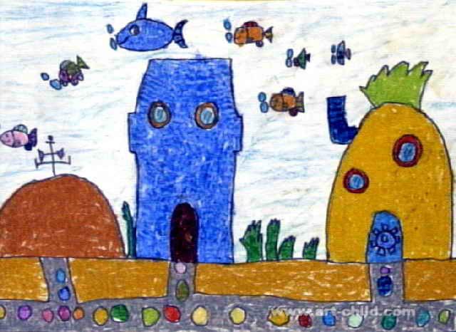 神秘的海底世界儿童画3幅
