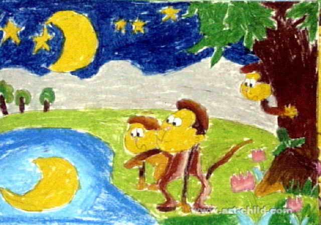 猴子捞月亮儿童画