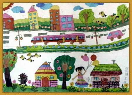 美丽的城市我的家儿童画
