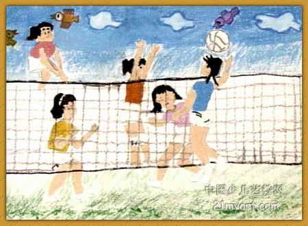 排球简笔画-发扬中国女排精神儿童画
