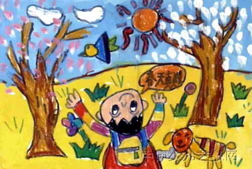 儿童画 通川区/儿童画 通川区/春天来了儿童画,这幅油画棒画作品长336px,宽...