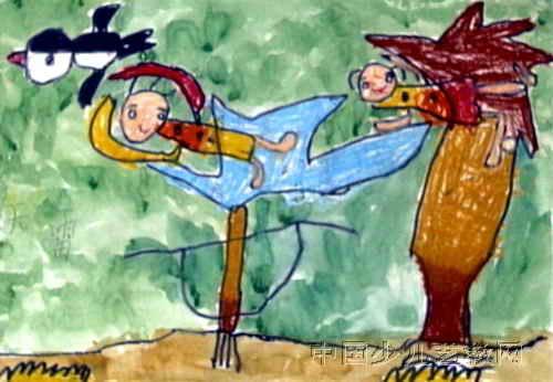 上树看鸟儿童画