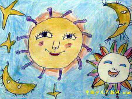 天空中的约会儿童画