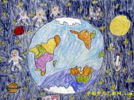 太空世界儿童画,此幅油画棒画尺寸为338x450像素