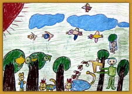 小动物哭了儿童画