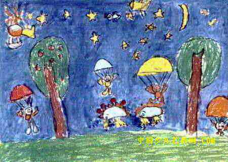 勇敢小伞兵儿童画