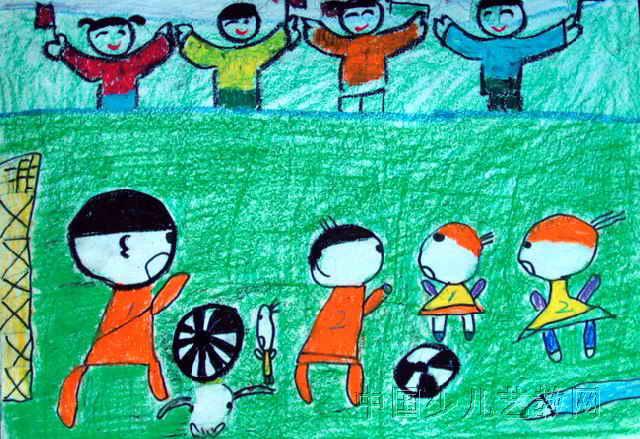 看足球儿童画图片