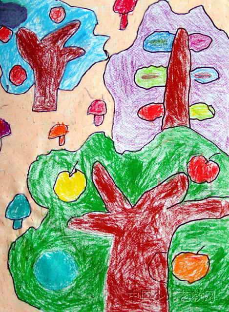 秋天的果树儿童画作品欣赏