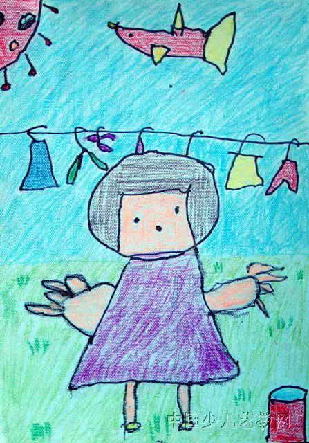 我很能干儿童画,这幅油画棒画作品长640px