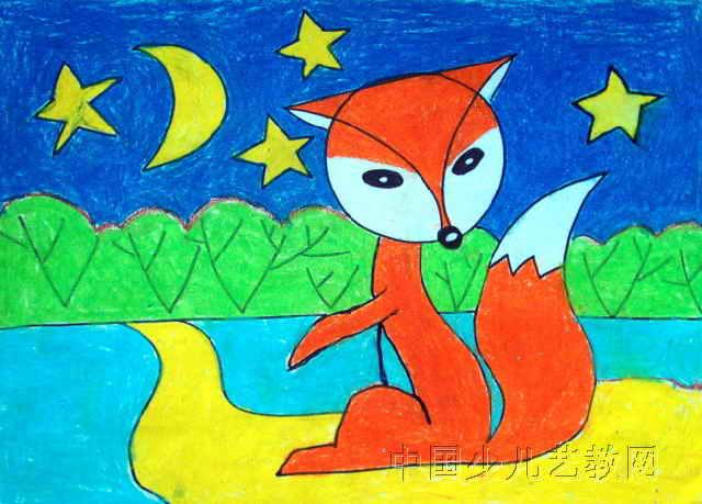 小狐狸儿童画3幅