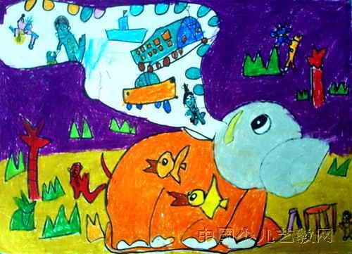 大象的长鼻子儿童画属于油画棒画