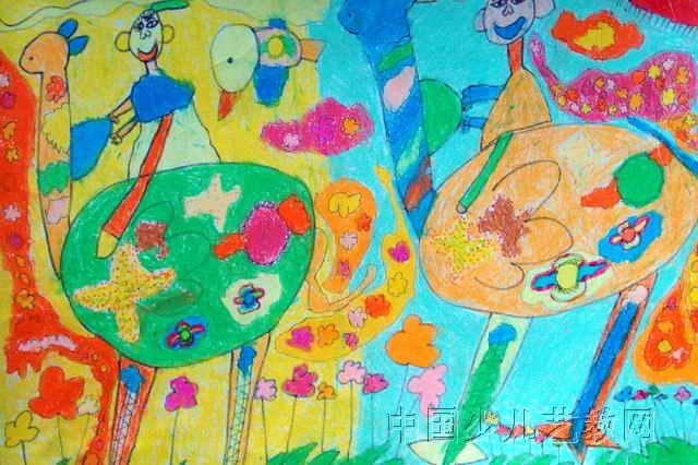 骑着驼鸟去旅行儿童画