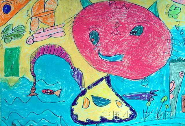 小猫钓鱼儿童画(一)8幅