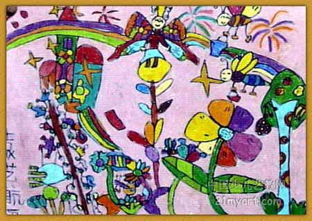 美丽花园儿童画2幅