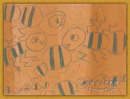 儿童画 刘廷锋/蚂蚁大战儿童画属于油画棒画,长343px,宽450px,作者刘廷锋...