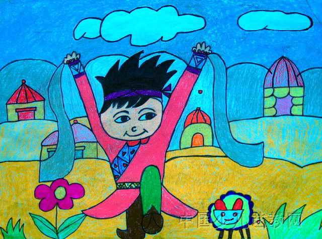 美丽草原我的家儿童画2幅