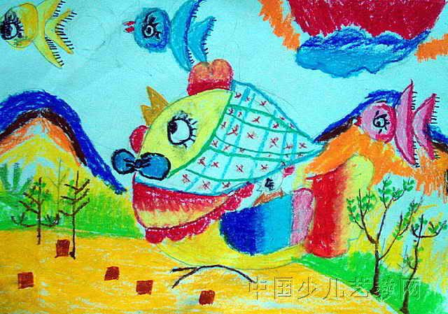 儿童画/可爱的小鸡儿童画属于油画棒画,作品长449px,宽640px,作者...