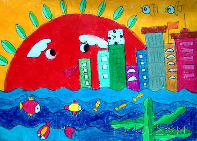 可爱的家乡儿童画5幅(第4张)