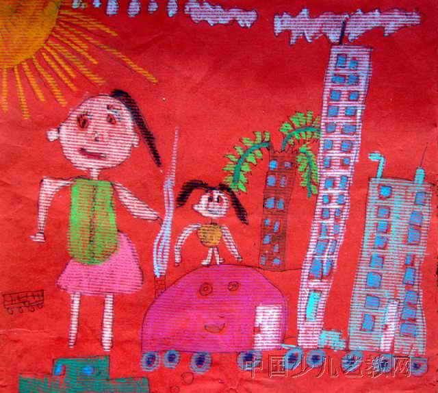 会动的房子儿童画属于油画棒画,作品长574px,宽640px ...