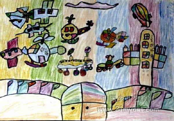 环保飞机厂儿童画