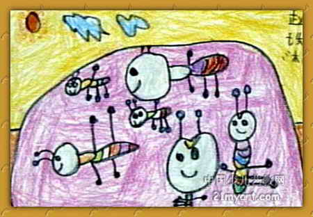 蚂蚁一家儿童画属于油画棒画,作品长312px,宽450px,作者赵珠林,女,5岁