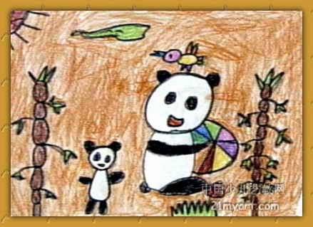 可爱的小熊猫儿童画3幅